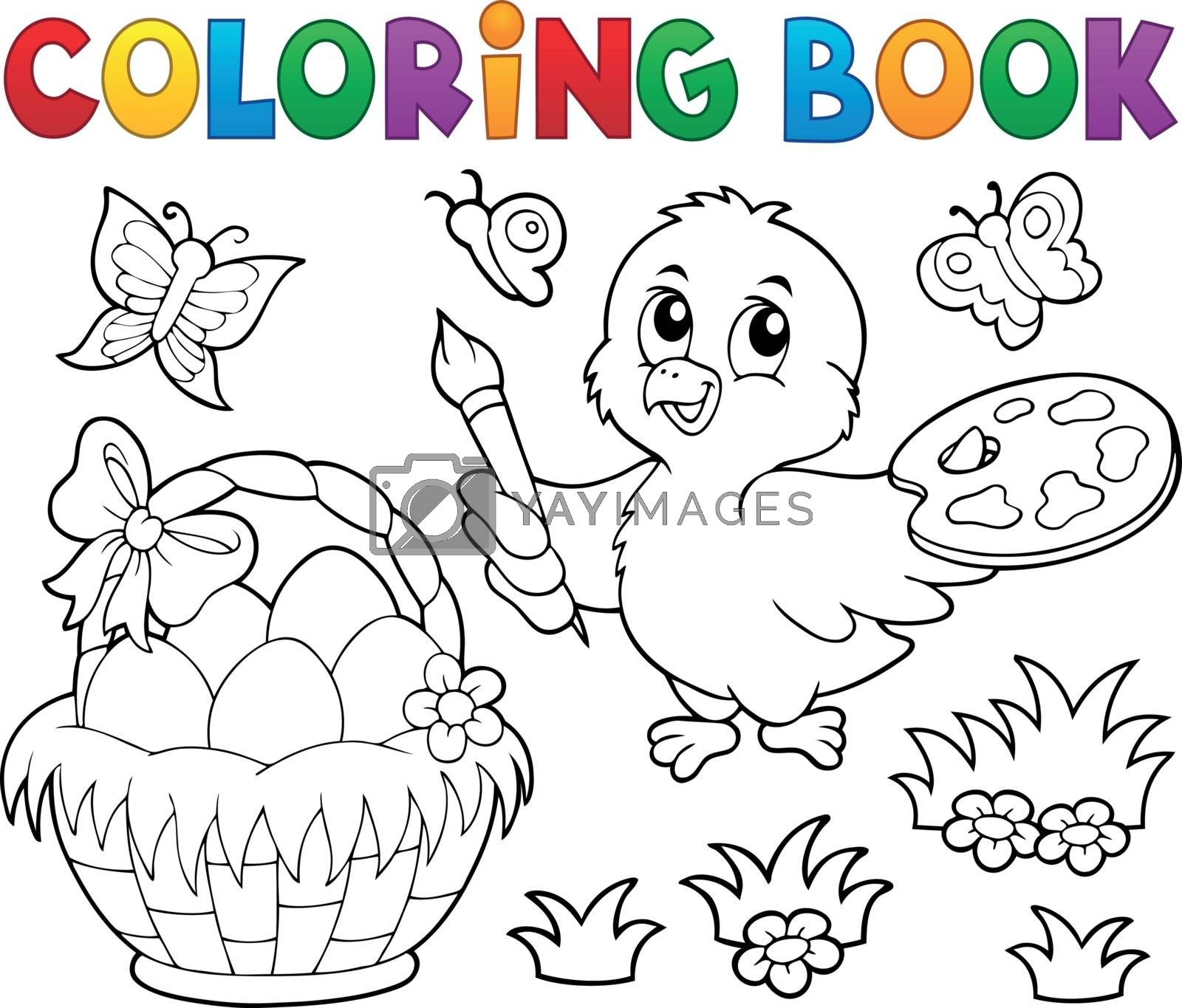 Coloring book Easter theme with chicken - eps10 vector illustration.