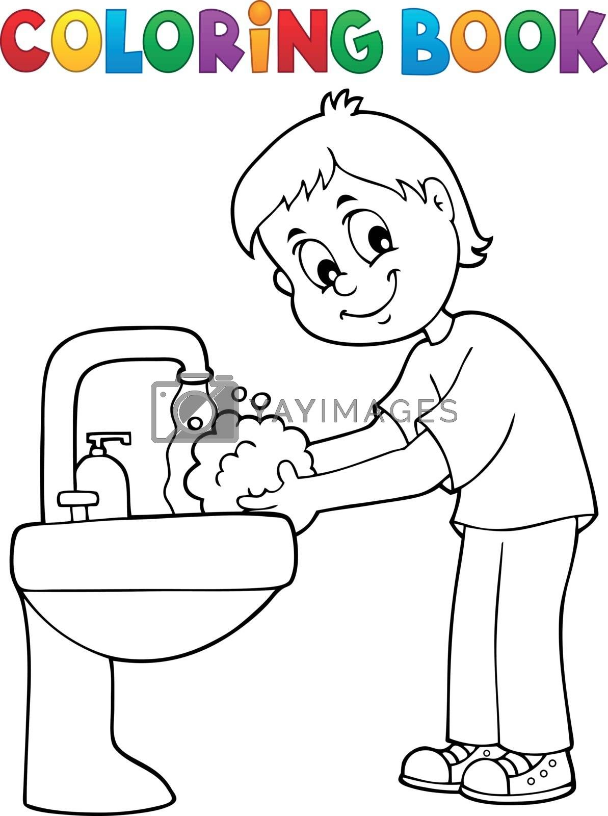 Coloring book boy washing hands theme 1 - eps10 vector illustration.