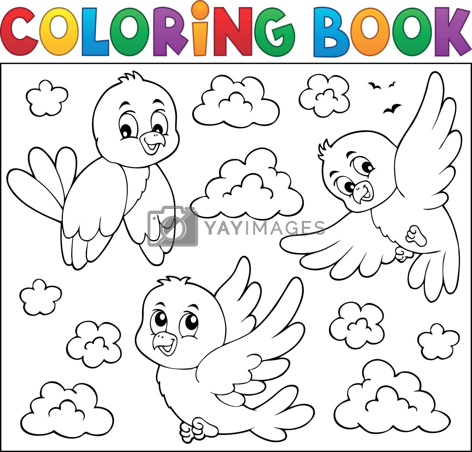 Coloring book happy birds theme 2 - eps10 vector illustration.