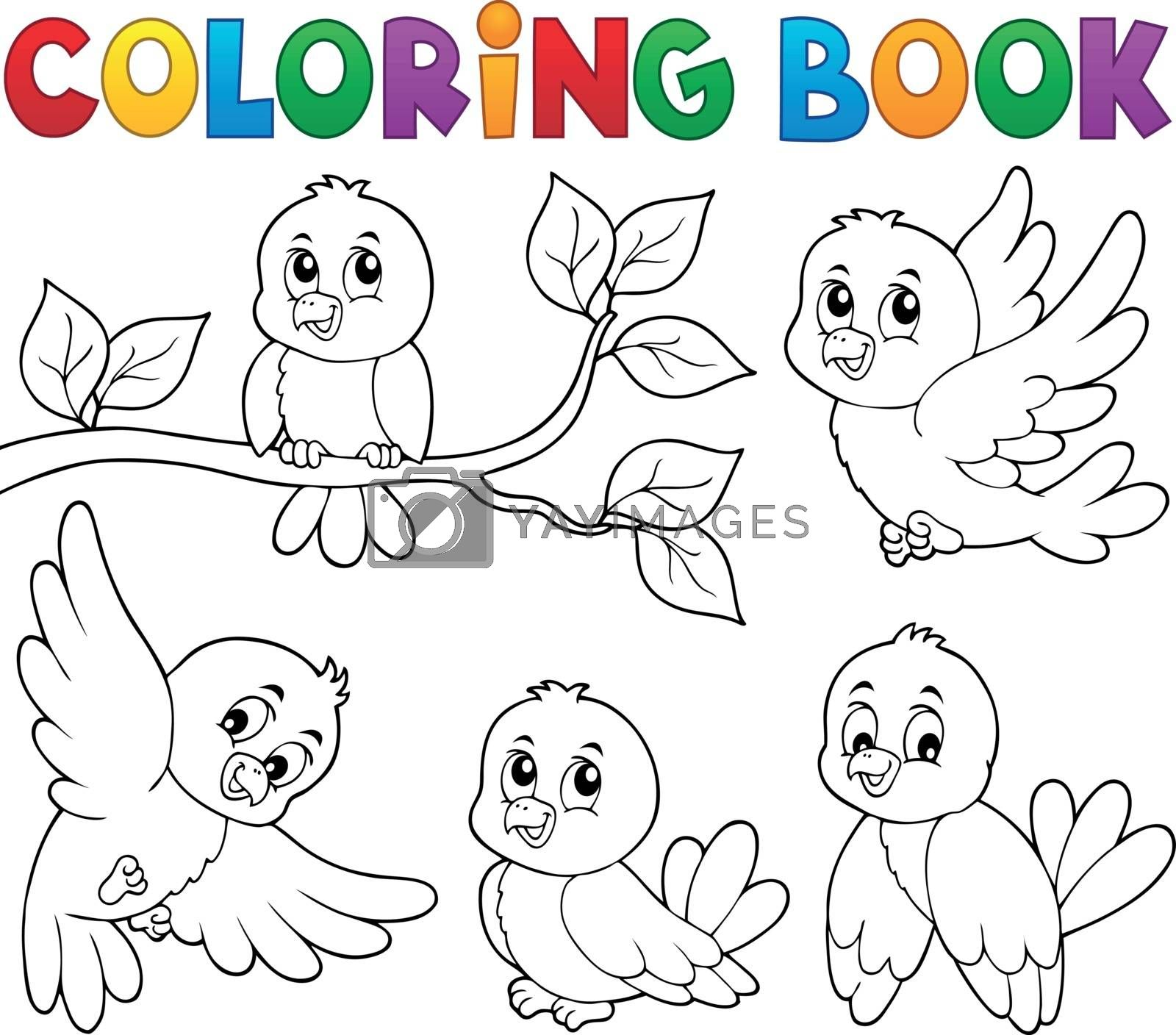 Coloring book happy birds theme 1 - eps10 vector illustration.