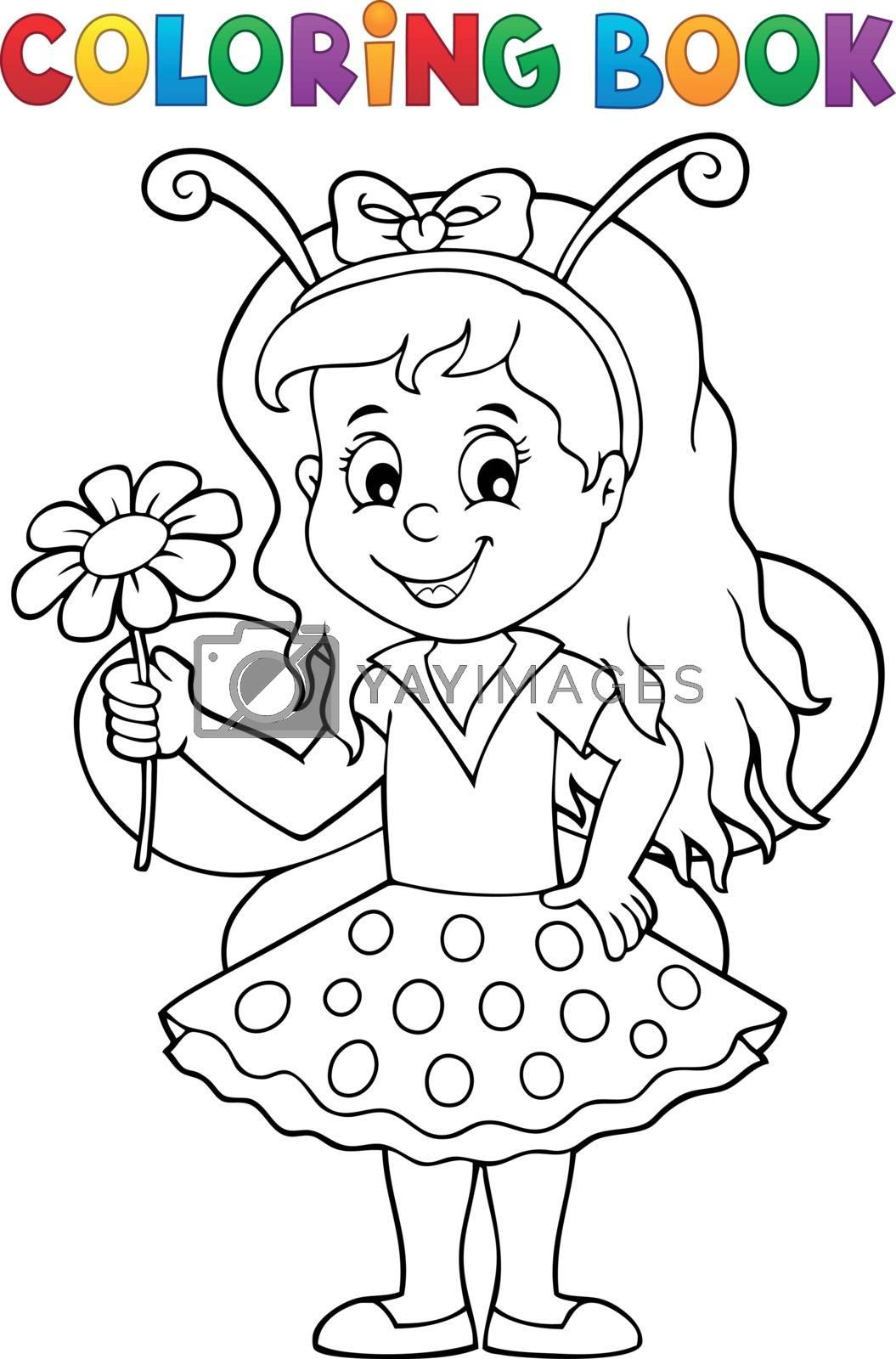 Coloring book ladybug girl theme 1 - eps10 vector illustration.