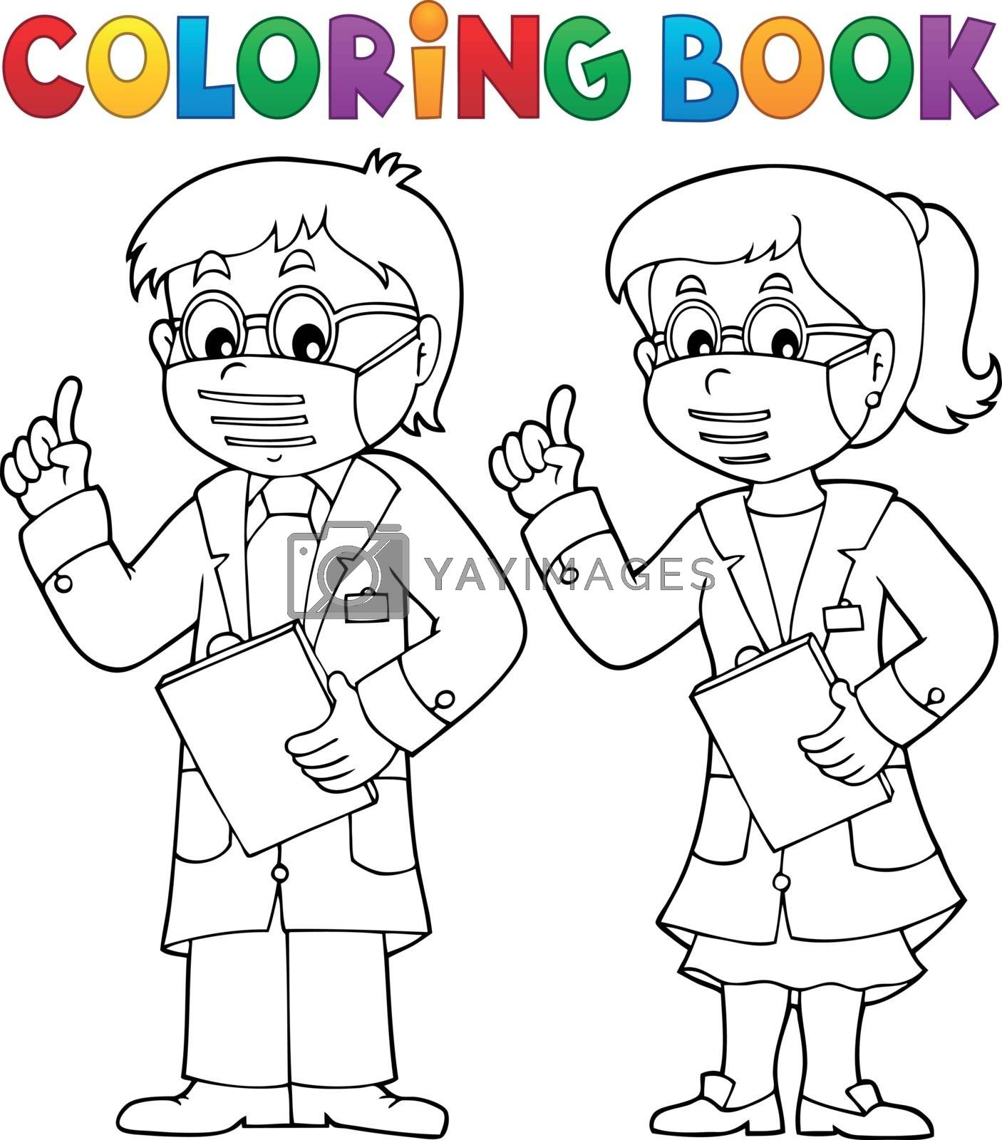 Coloring book two advising doctors - eps10 vector illustration.