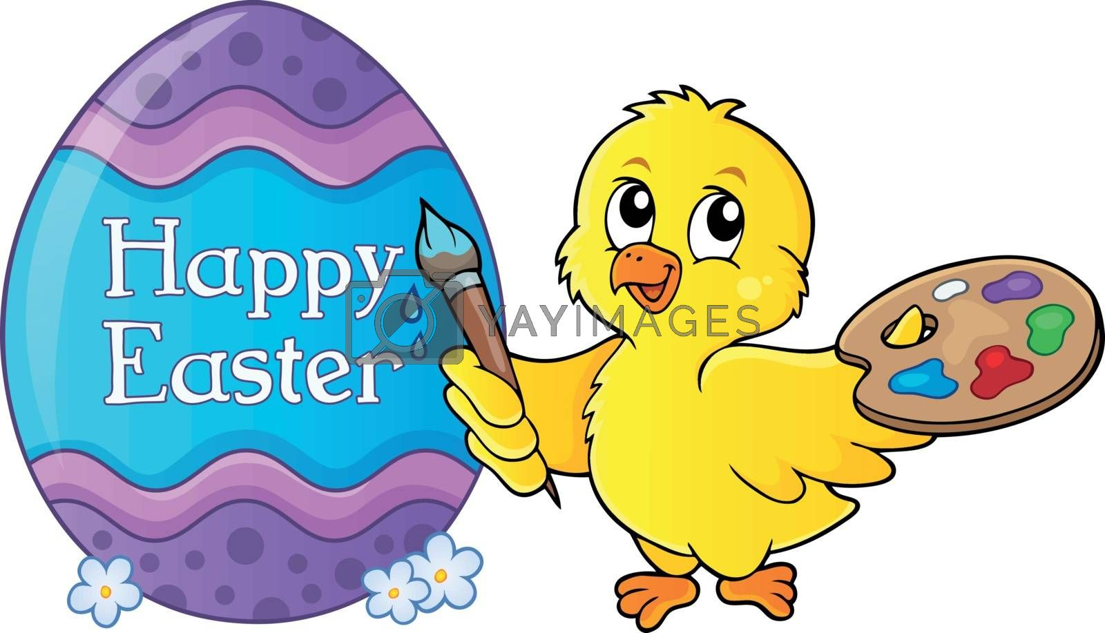 Easter egg with chicken painter theme 1 - eps10 vector illustration.