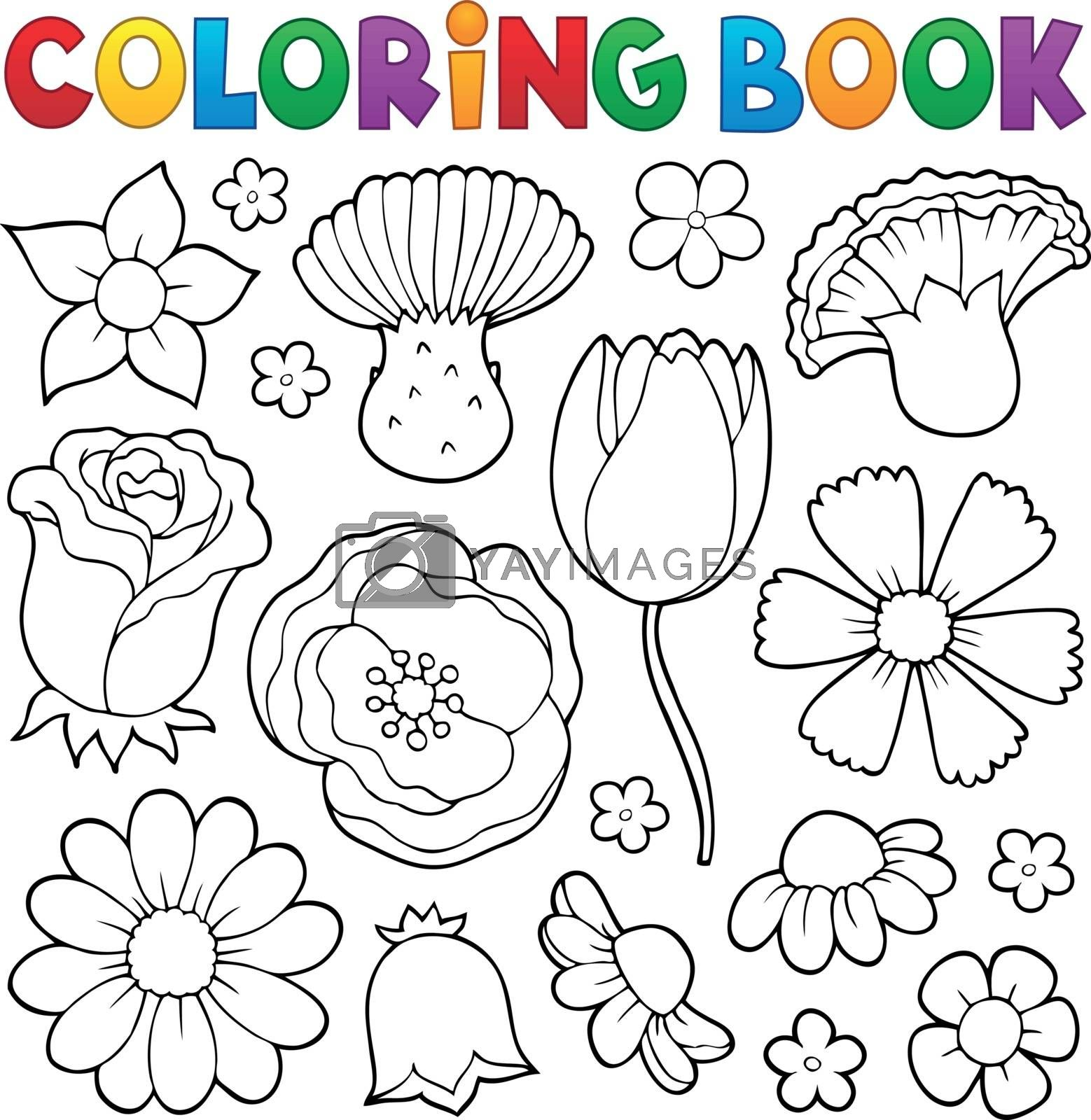 Coloring book various flower heads set 1 - eps10 vector illustration.