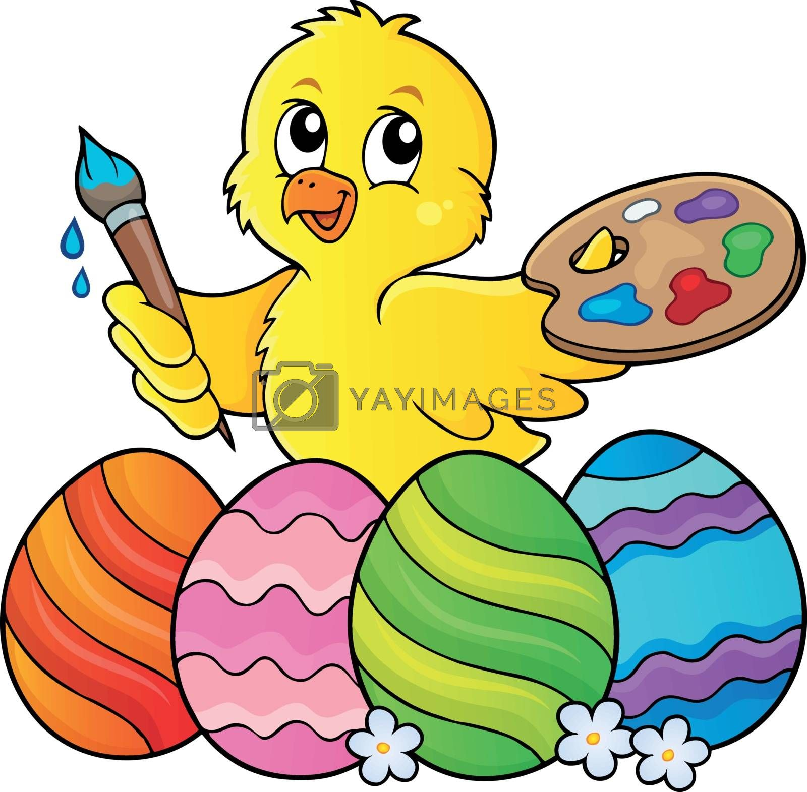 Easter eggs and chicken painter topic 1 - eps10 vector illustration.