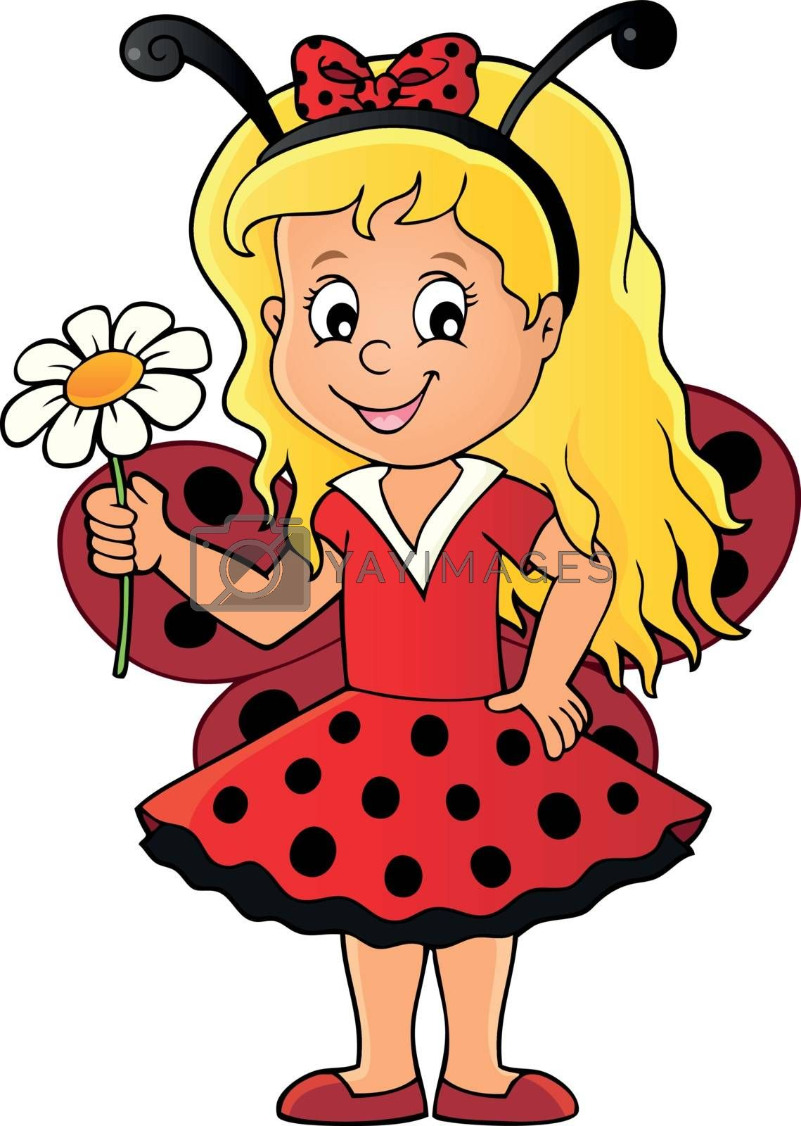 Ladybug girl theme image 1 - eps10 vector illustration.