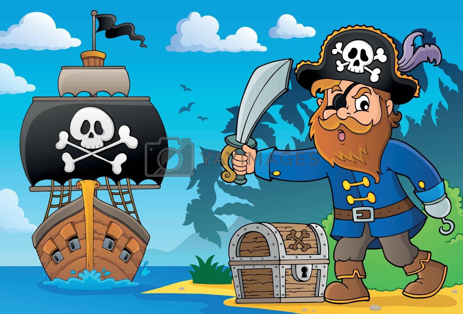 Pirate holding sabre theme 2 - eps10 vector illustration.