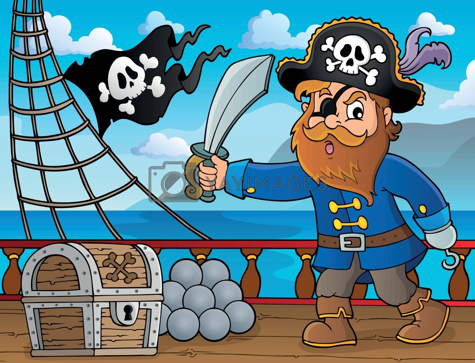 Pirate holding sabre theme 4 - eps10 vector illustration.