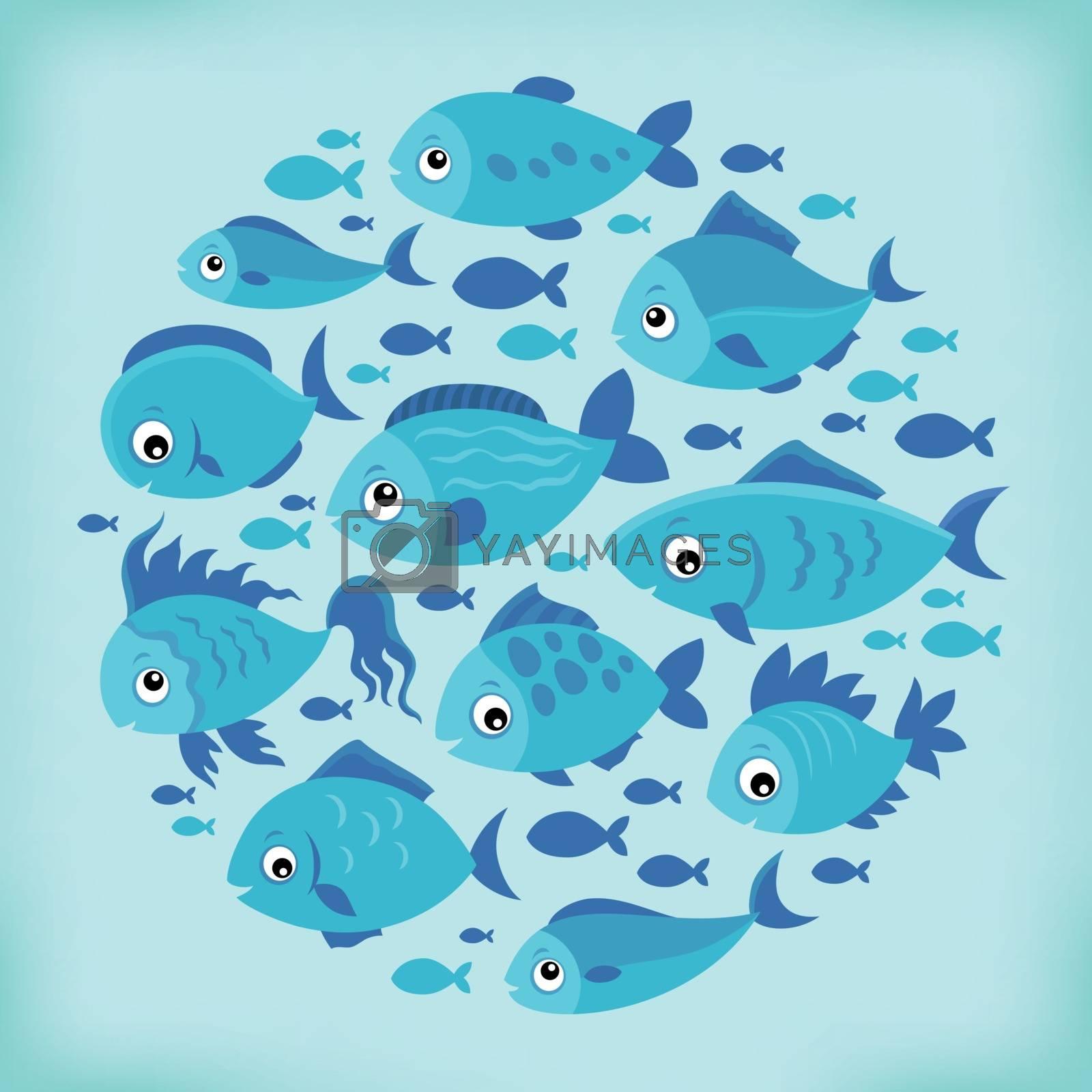 Stylized fishes topic image 4 - eps10 vector illustration.