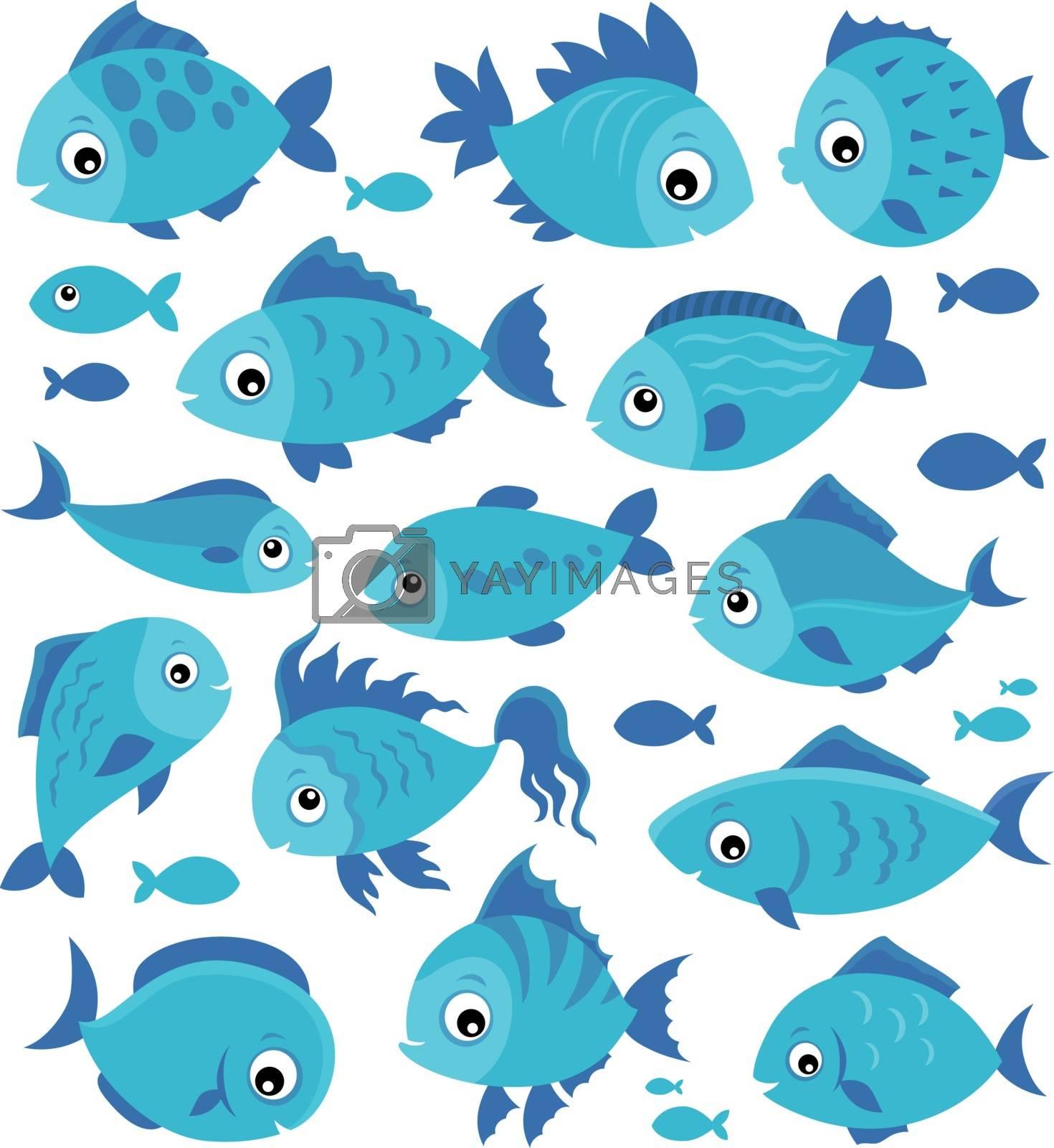 Stylized fishes theme set 3 - eps10 vector illustration.