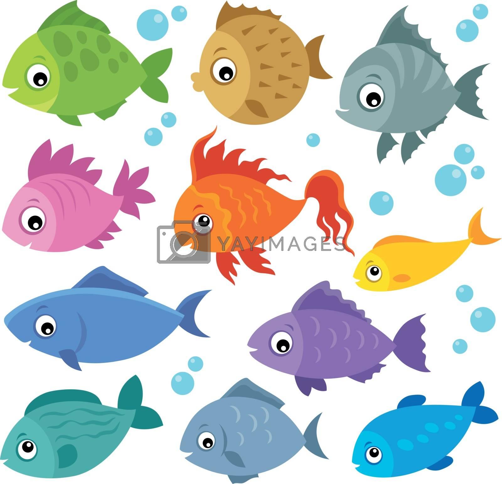 Stylized fishes theme set 2 - eps10 vector illustration.