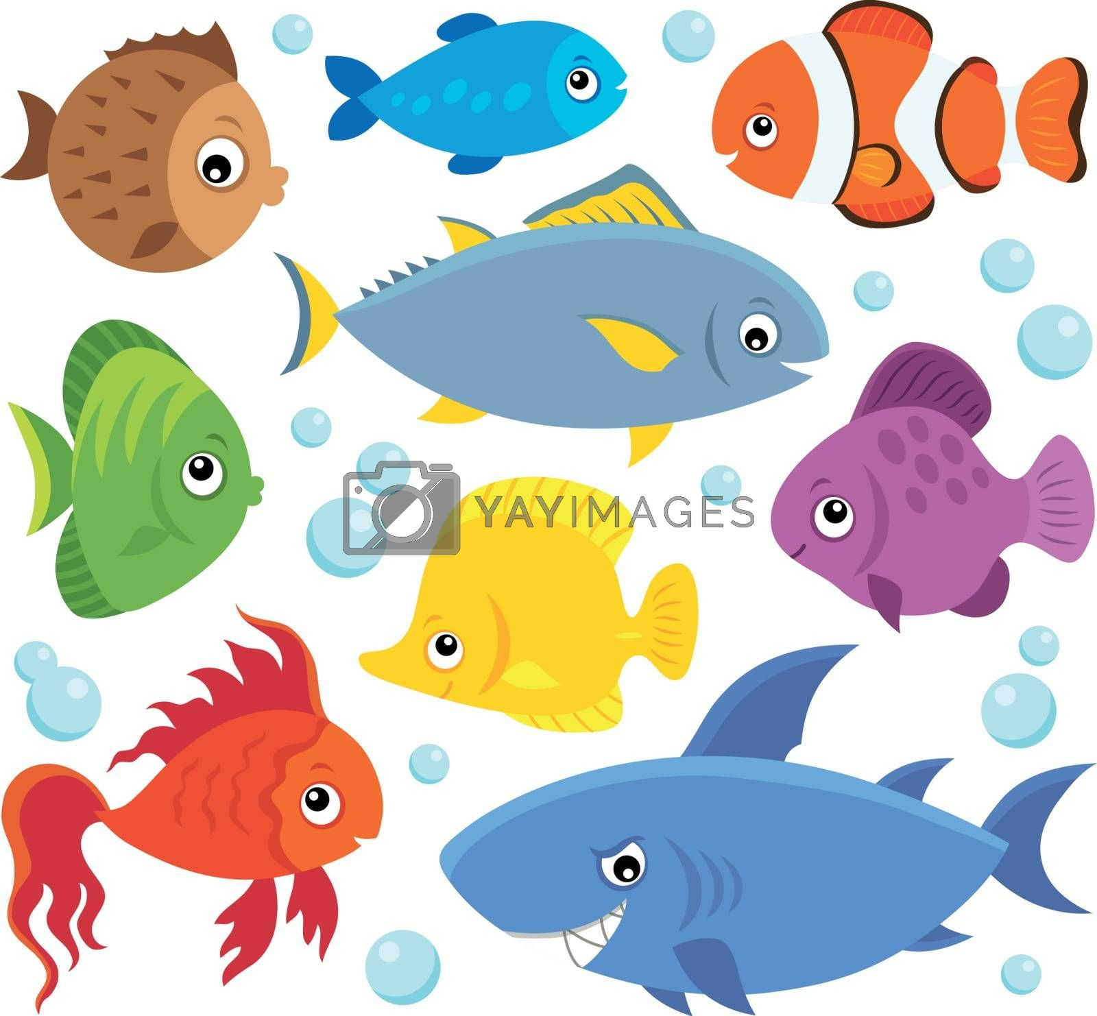 Stylized fishes theme set 4 - eps10 vector illustration.