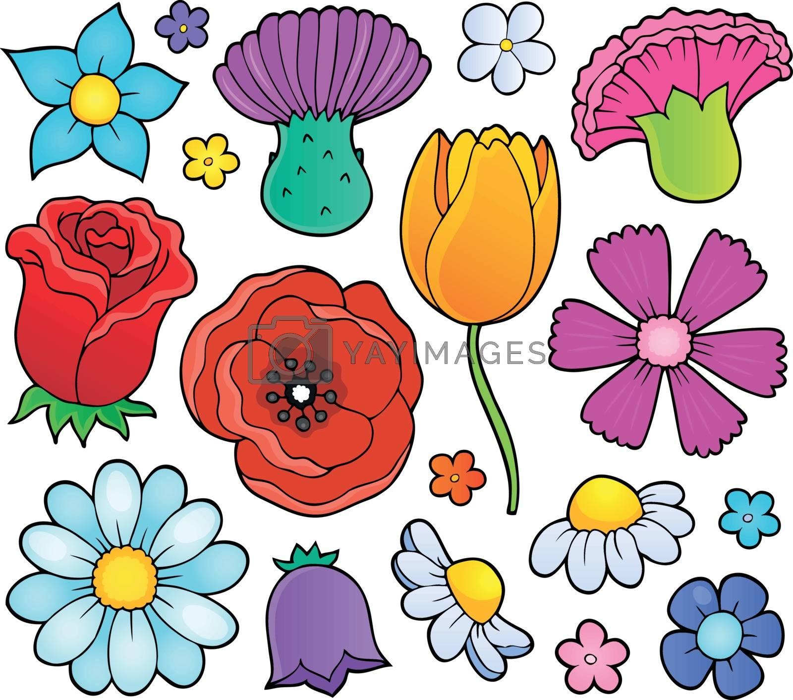 Various flower heads theme set 1 - eps10 vector illustration.