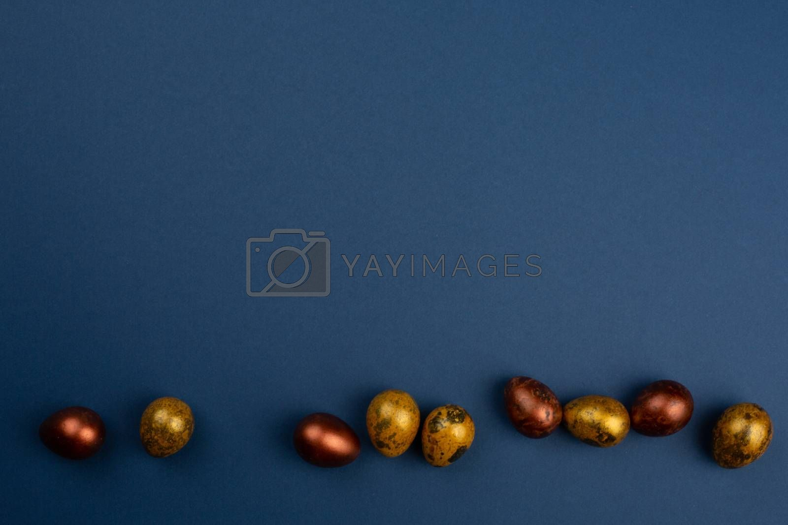 Small golden quail easter eggs in a row on blue background copy space for text
