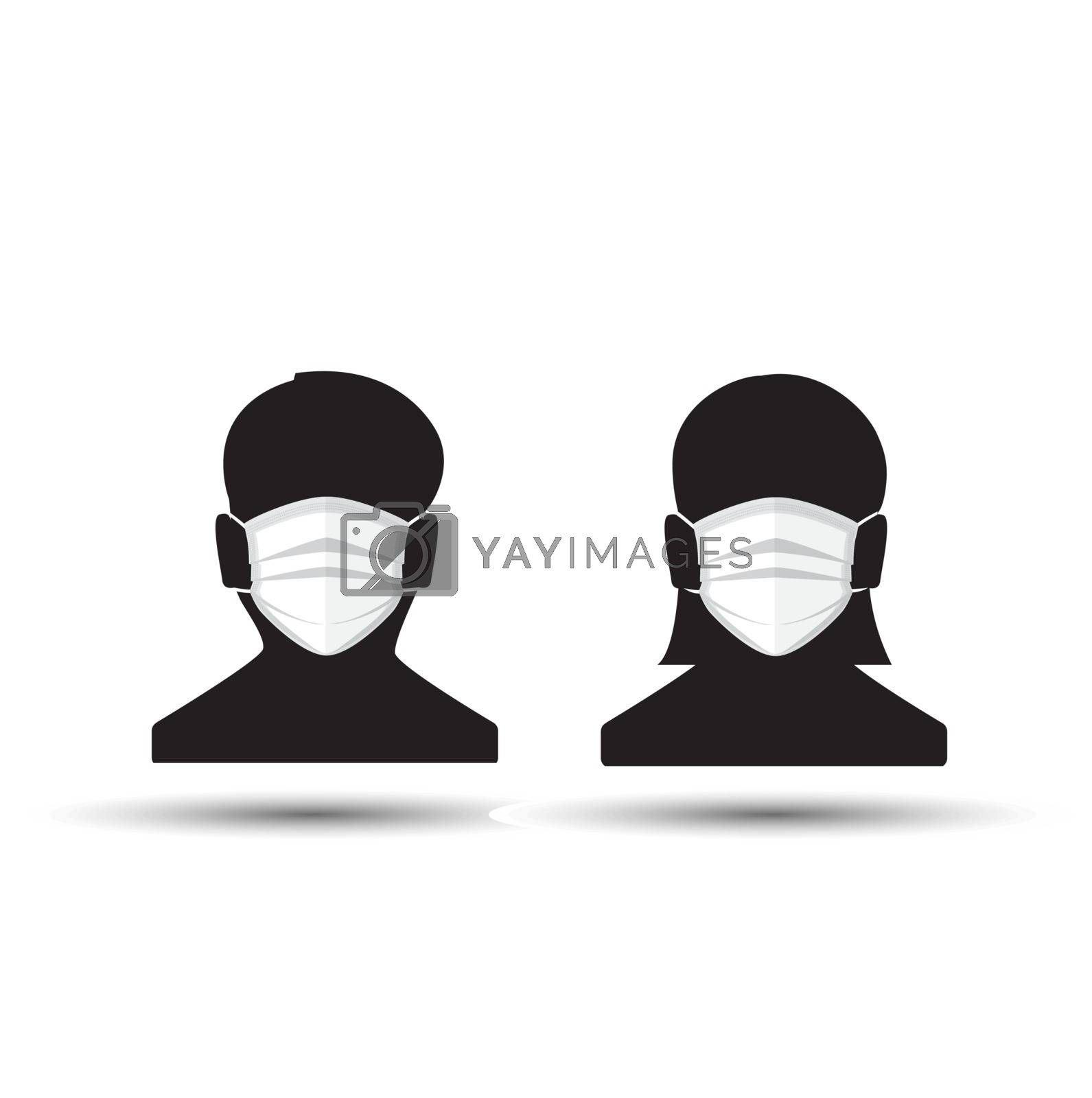 Vector illustration for graphic and web design, face with mask icon. Man and Woman in medical face protection mask.