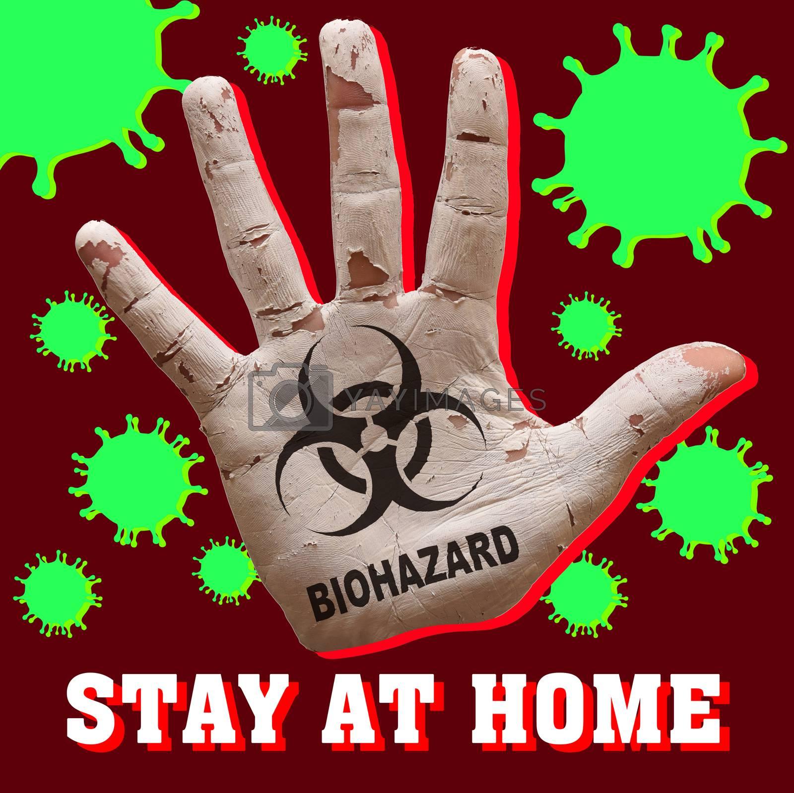 man hand palm painted caution virus biohazard symbol