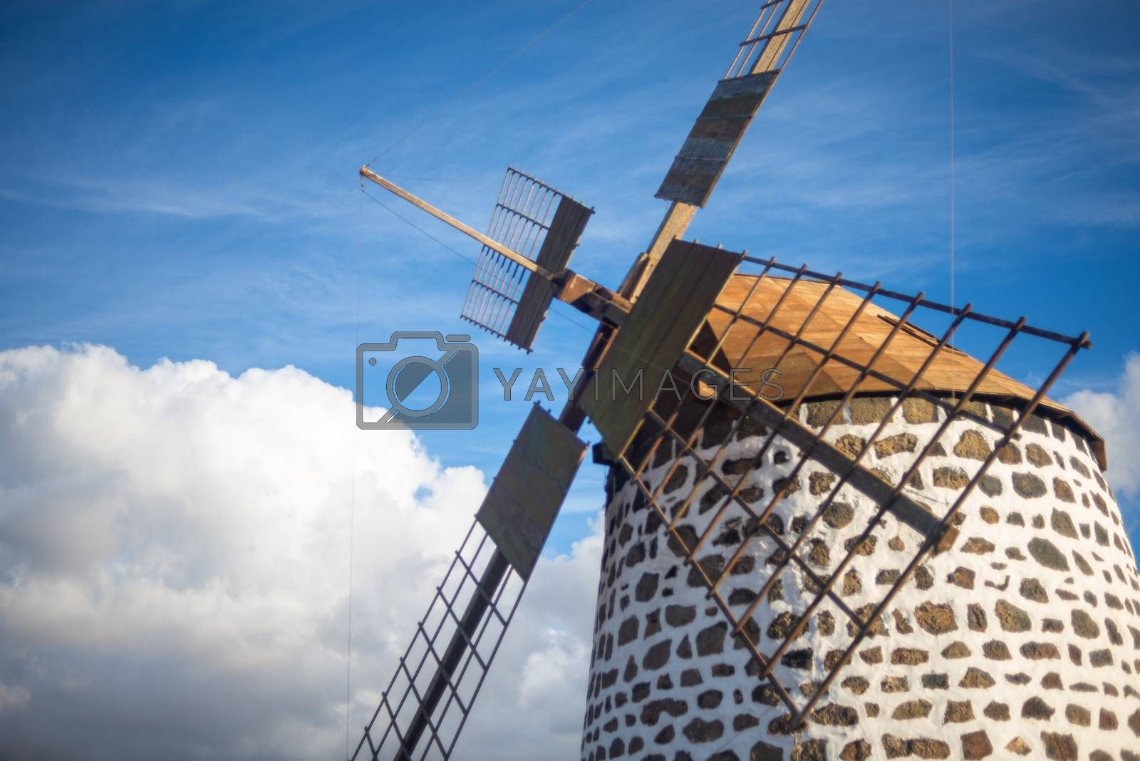 characteristic windmill of fuerteventura, canary islands