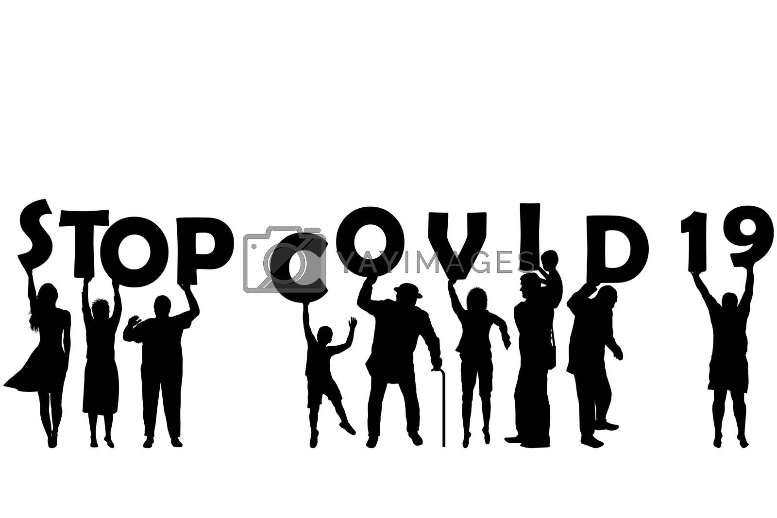 STOP COVID 19 (Coronavirus) with silhouette of women, men and children holding letters
