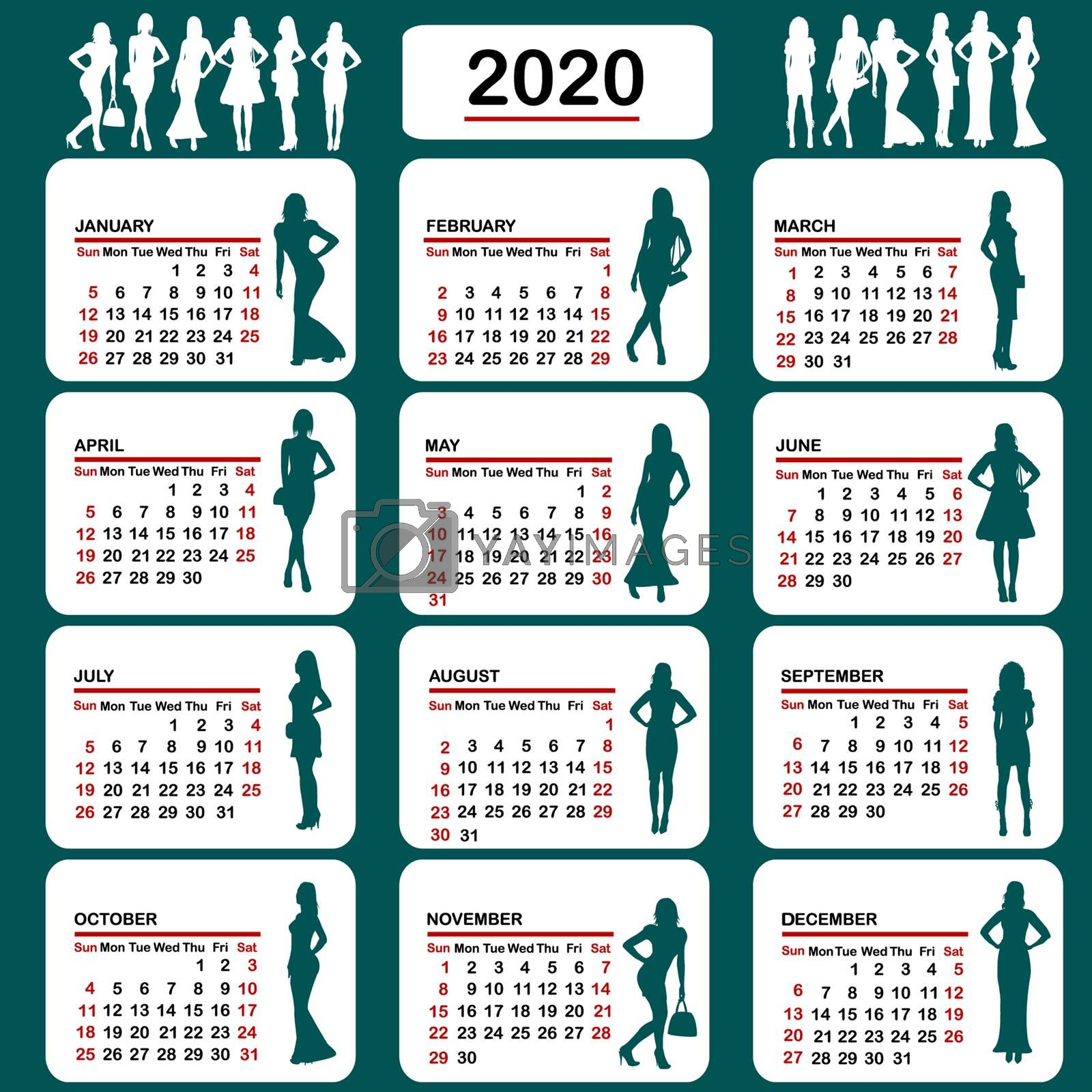 2020 calendar with fashion silhouettes of women