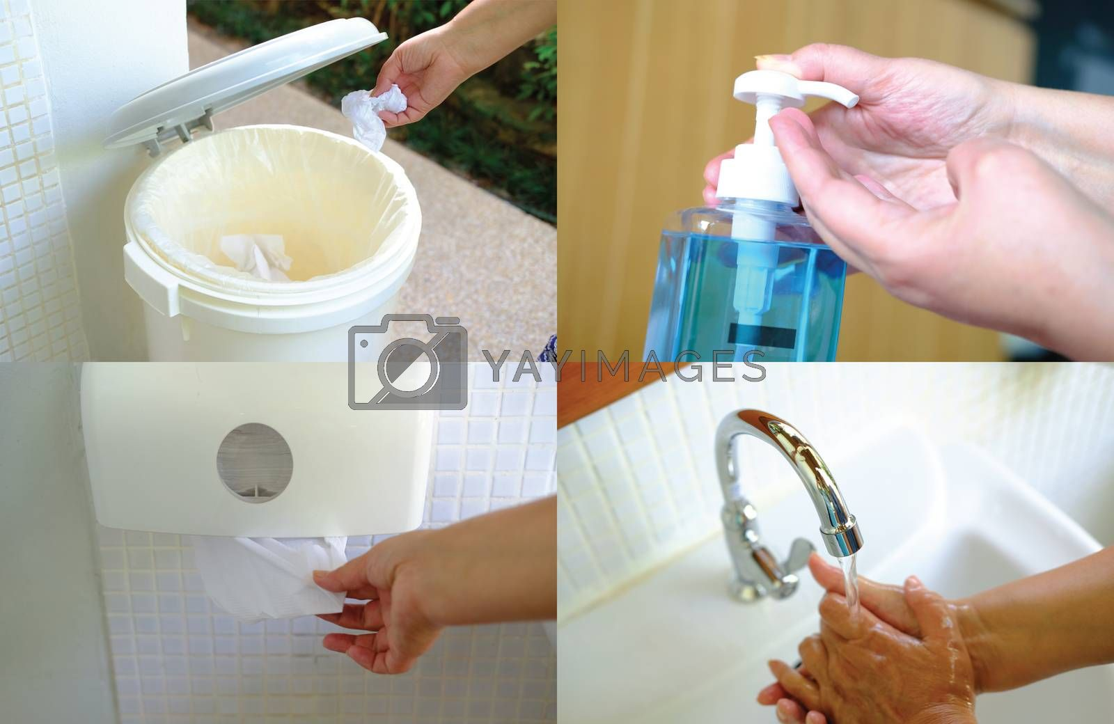 Set closeup imige of personal hygiene Equipment. Hygiene and healthy life concept. Equipment for Cleaning hands and drying hands
