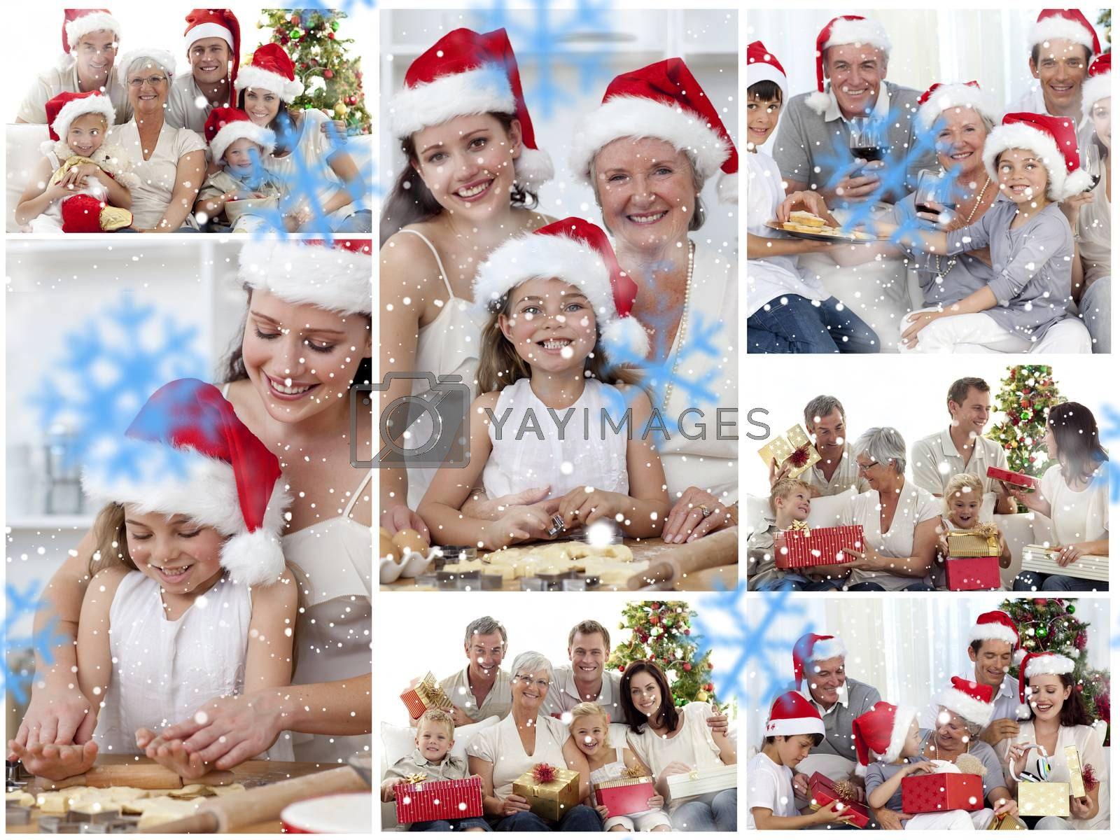 Collage of families enjoying celebration moments together at home by Wavebreakmedia