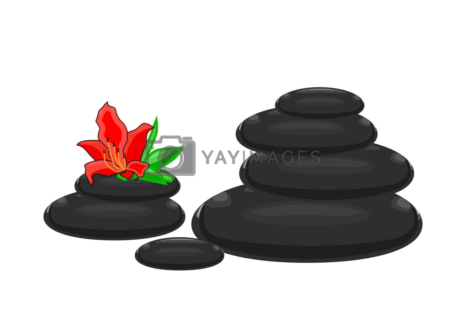 Black  stones illustration for spa salon, cosmetics, massage, yoga center, wellness, beauty salon and medicine designs. Stock vector