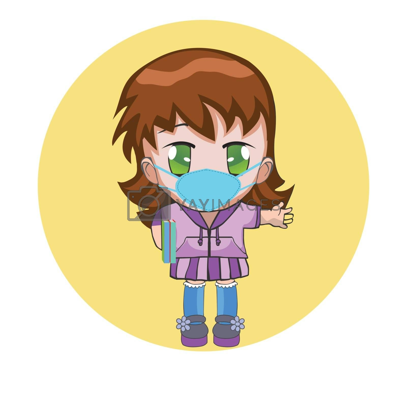 Chibi girl wearing a surgical mask. Hand drawn emoticon, cartoon character. Medical mask for prevent virus concept.