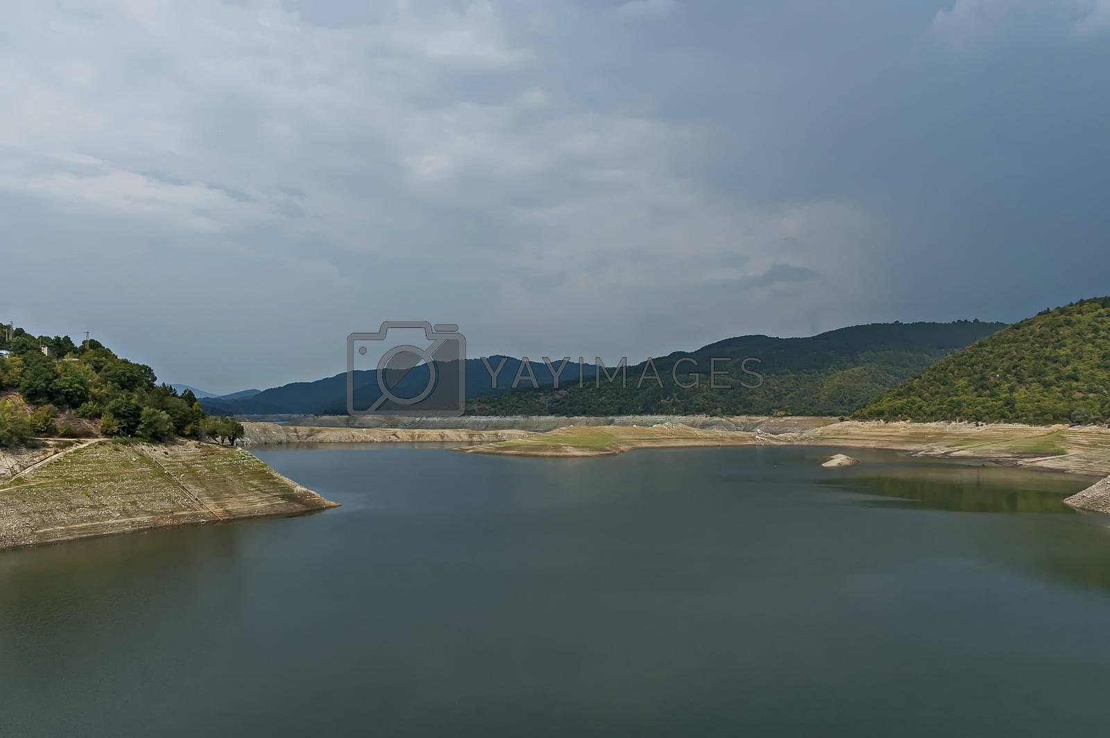 View of the Topolnitsa dam, reservoir, lake or barrage on the river Topolnitsa near village Muhovo, Ihtiman region, Bulgaria, Europe