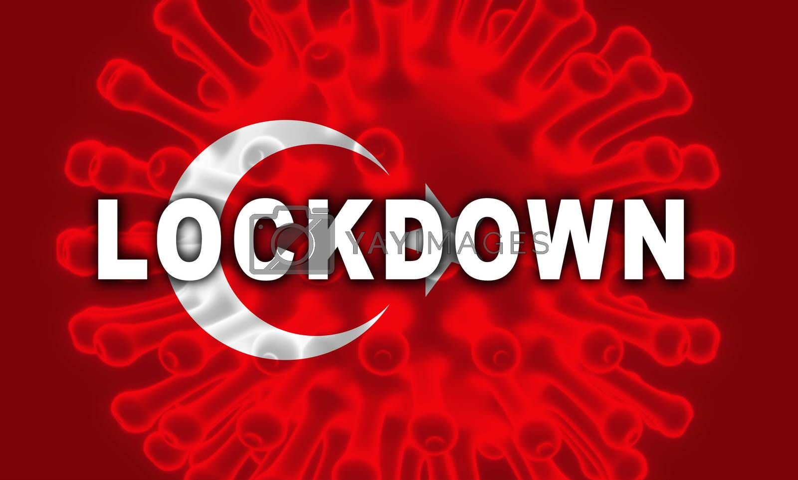 Turkey lockdown preventing ncov epidemic or outbreak. Covid 19 Turkish precaution to isolate disease infection - 3d Illustration