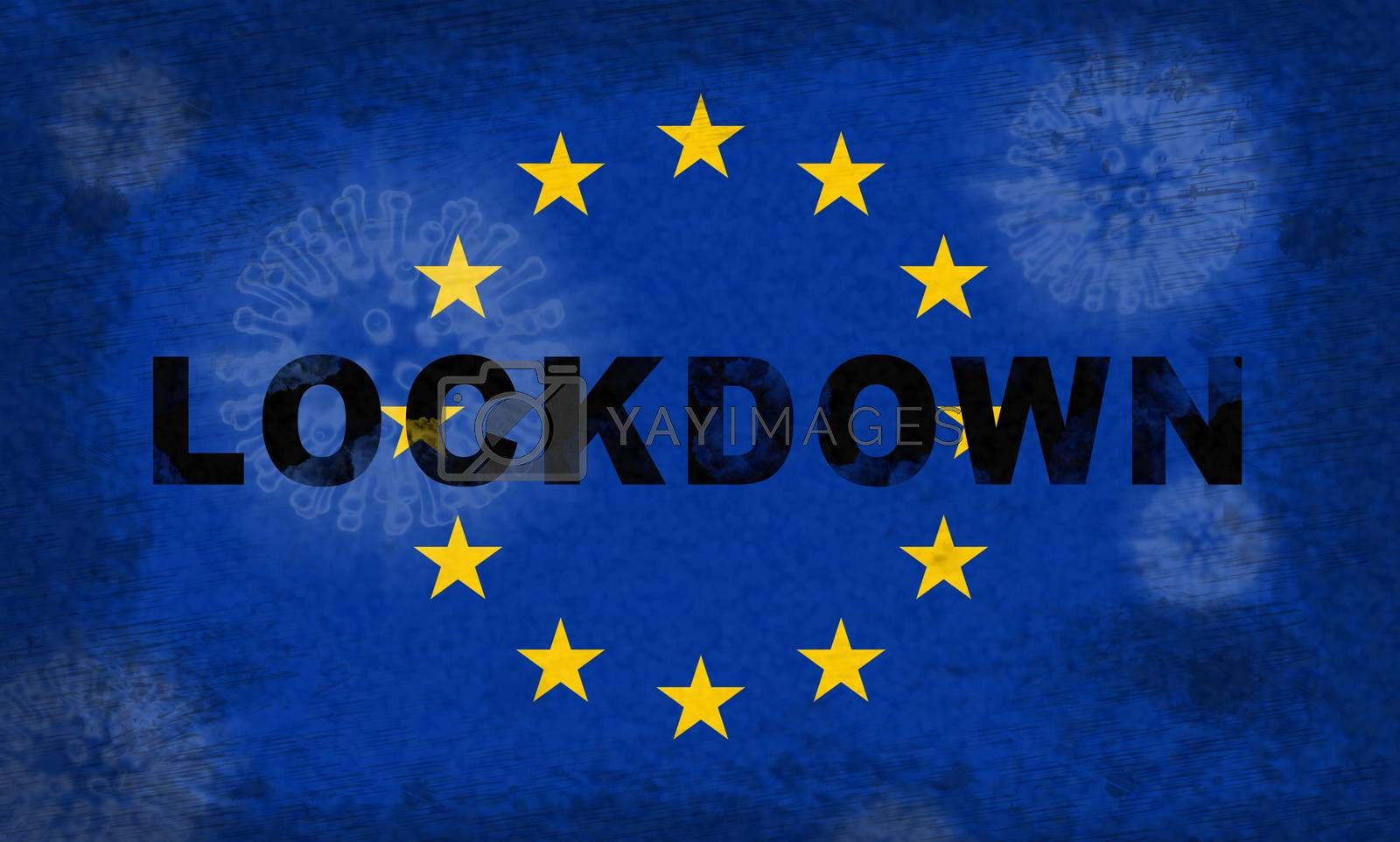 EU lockdown stopping ncov epidemic or outbreak. Covid 19 European Union ban to isolate disease infection - 3d Illustration
