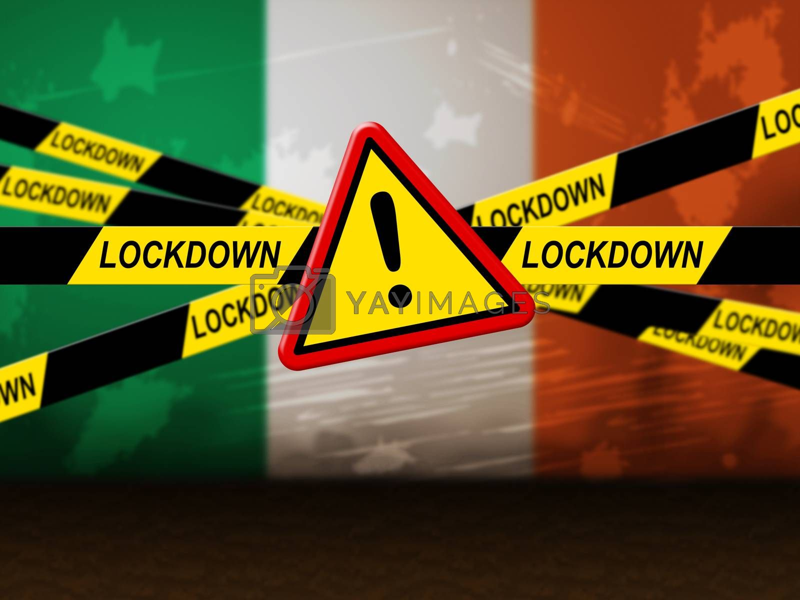 Ireland lockdown preventing ncov epidemic or outbreak. Covid 19 Irish precaution to isolate disease infection - 3d Illustration