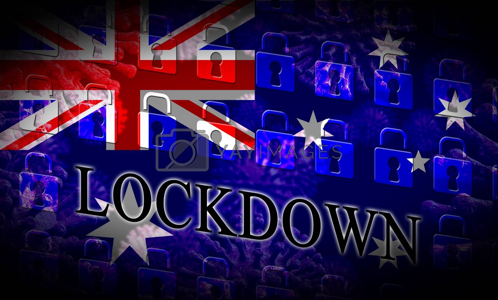Australia lockdown to prevent coronavirus epidemic and outbreak. Covid 19 Australian precautions to lock down disease infection - 3d Illustration