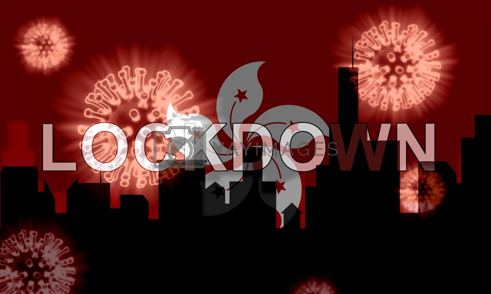 Hong Kong lockdown to stop coronavirus spread or outbreak. Covid 19 HK precaution to lock down virus infection - 3d Illustration