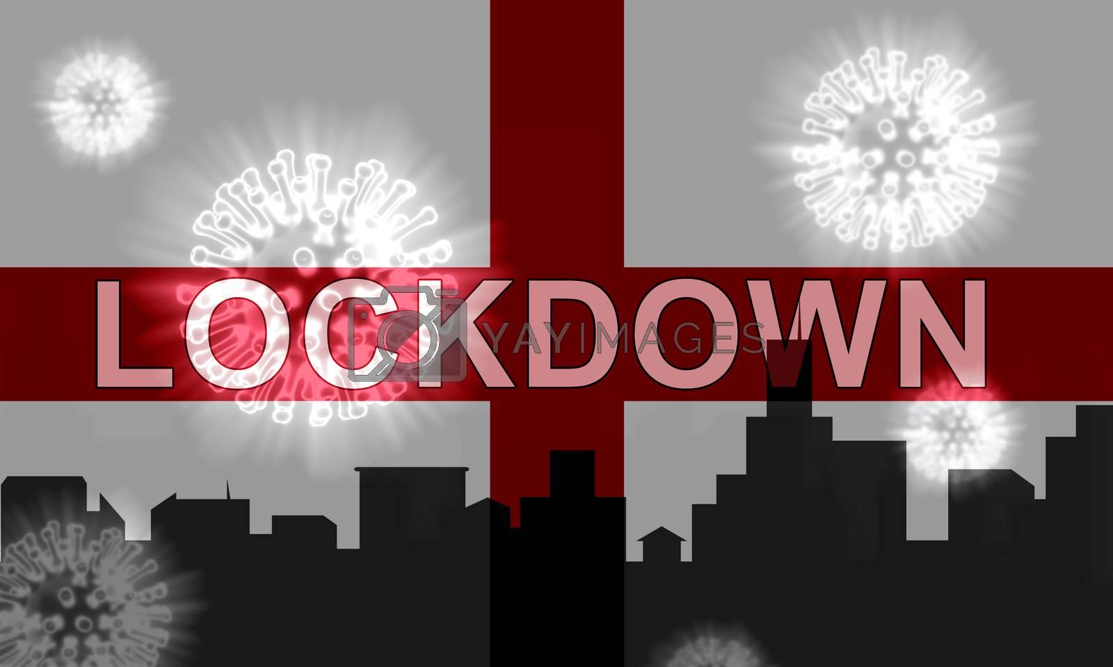 England lockdown confinement preventing coronavirus spread or outbreak. Covid 19 English precaution to lock down virus infection - 3d Illustration