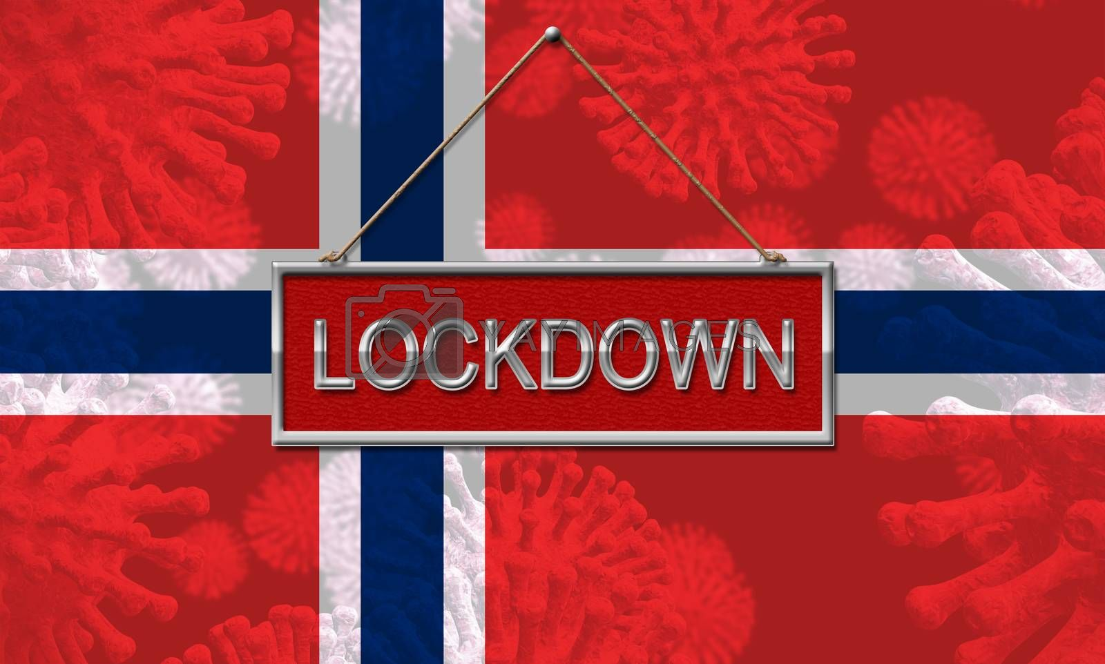 Norway lockdown stopping ncov epidemic or infection. Covid 19 Norwegian ban to isolate disease infection - 3d Illustration