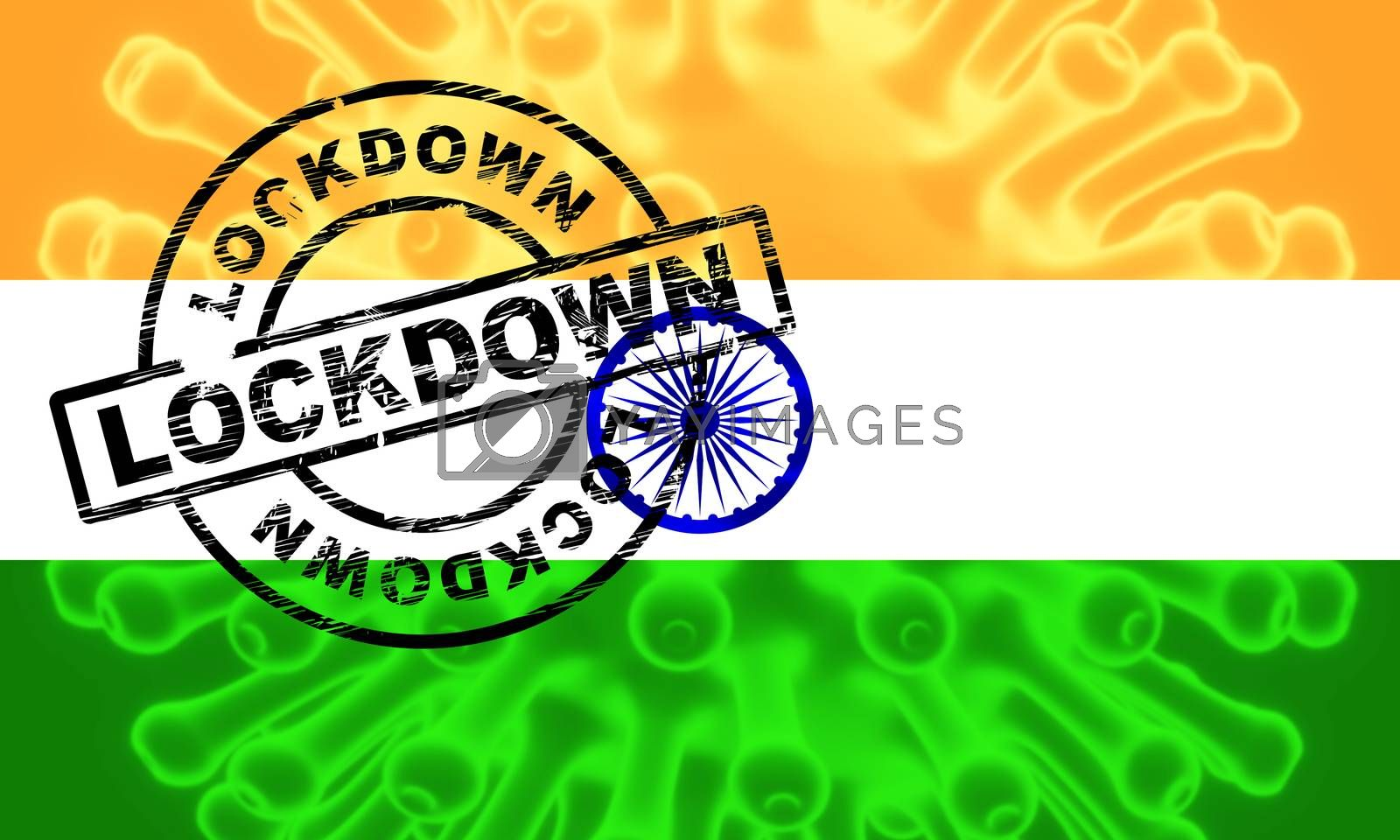 India lockdown preventing covid19 epidemic and outbreak. Covid 19 Indian precaution to isolate disease infection - 3d Illustration