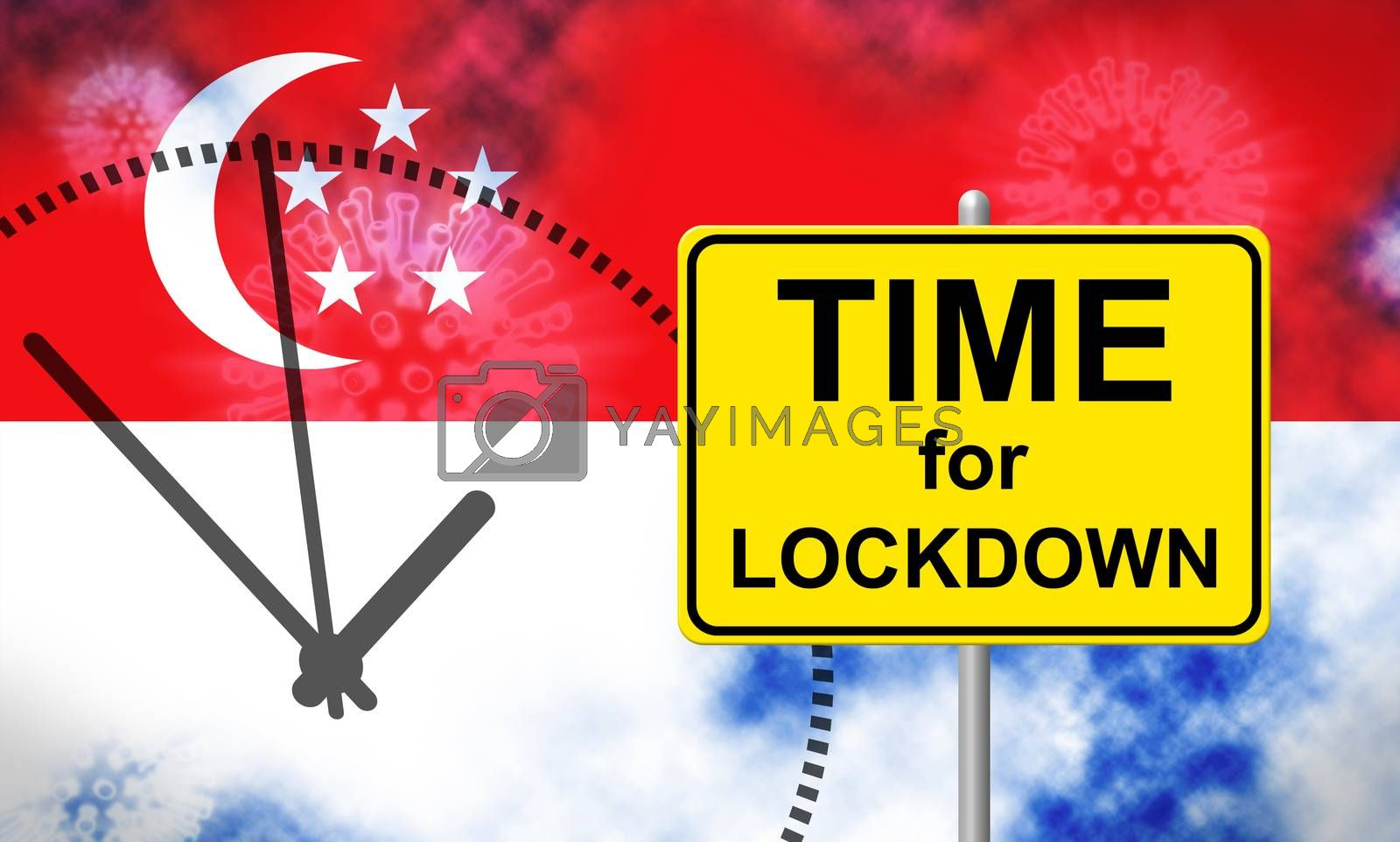 Singapore lockdown preventing ncov pandemic and outbreak. Covid 19 Singaporean precaution to isolate disease infection - 3d Illustration