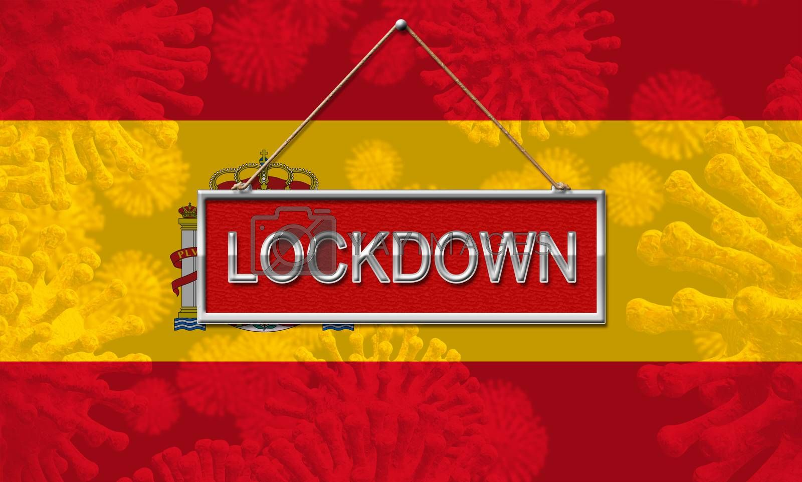 Spain lockdown stopping covid19 epidemic or outbreak. Covid 19 Spanish ban to restrict disease infection - 3d Illustration