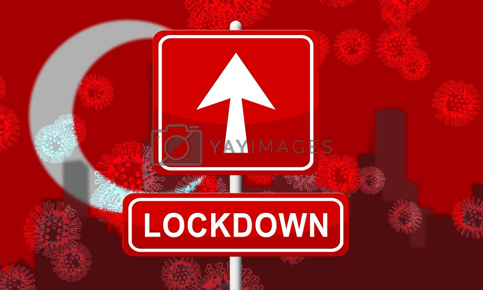 Turkey lockdown preventing covid19 epidemic and outbreak. Covid 19 Turkish precaution to isolate disease infection - 3d Illustration