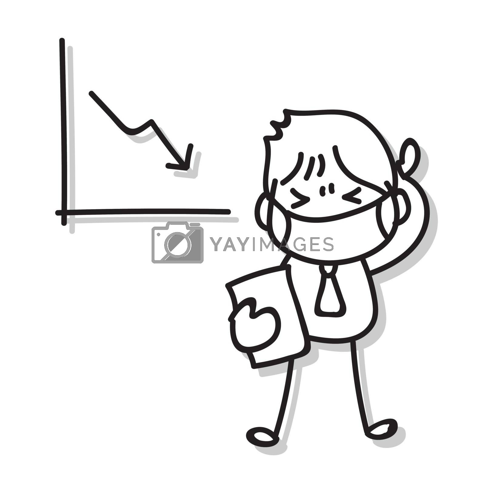 hand drawing businessman wear masks stress from decrease market during virus outbreak. businessman wear mask protection effect of corona virus. Covid-19. Vector illustration eps 10.