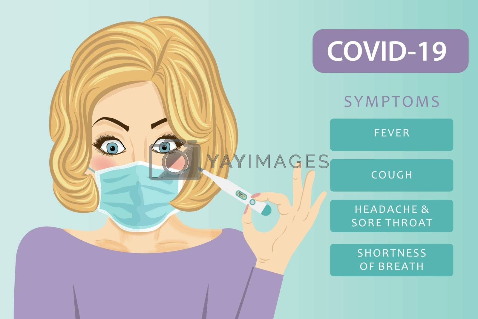 Young woman with medical mask. Coronavirus disease, Covid-19. Vector