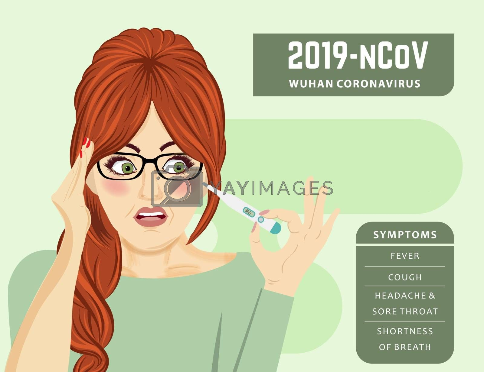 woman with fever. Coronavirus disease, Covid-19. Vector