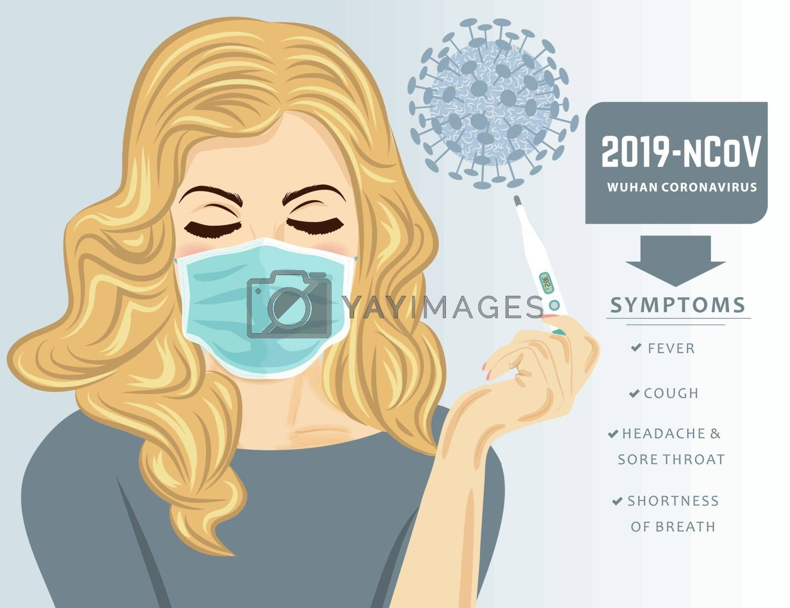 Woman with medical maskand fever. Coronavirus disease, Covid-19. Vector