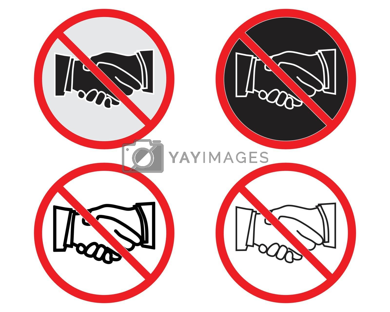 No handshake vector. Not allow handshake sign. The red circle prohibiting sing