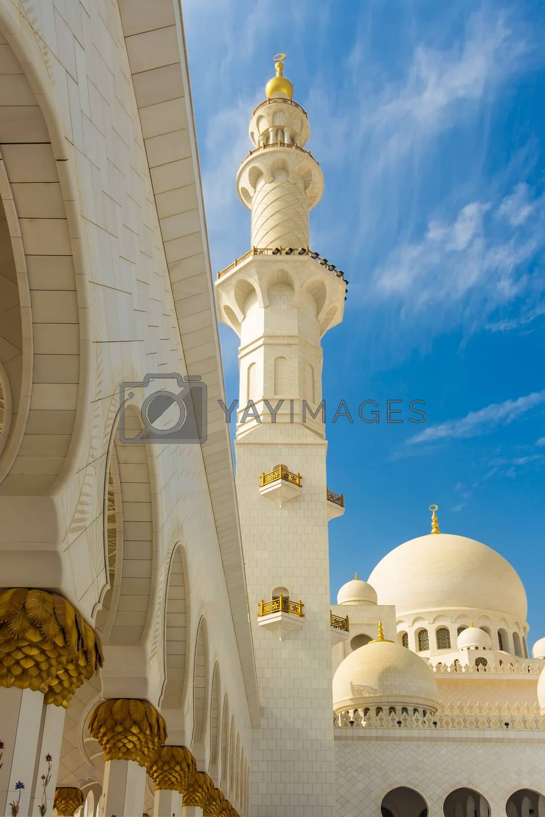 The minaret of Sheikh Zayed Grand Mosque rises 351 feet