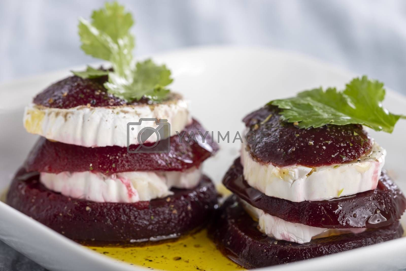 beetroot slices with goat cheese and oil