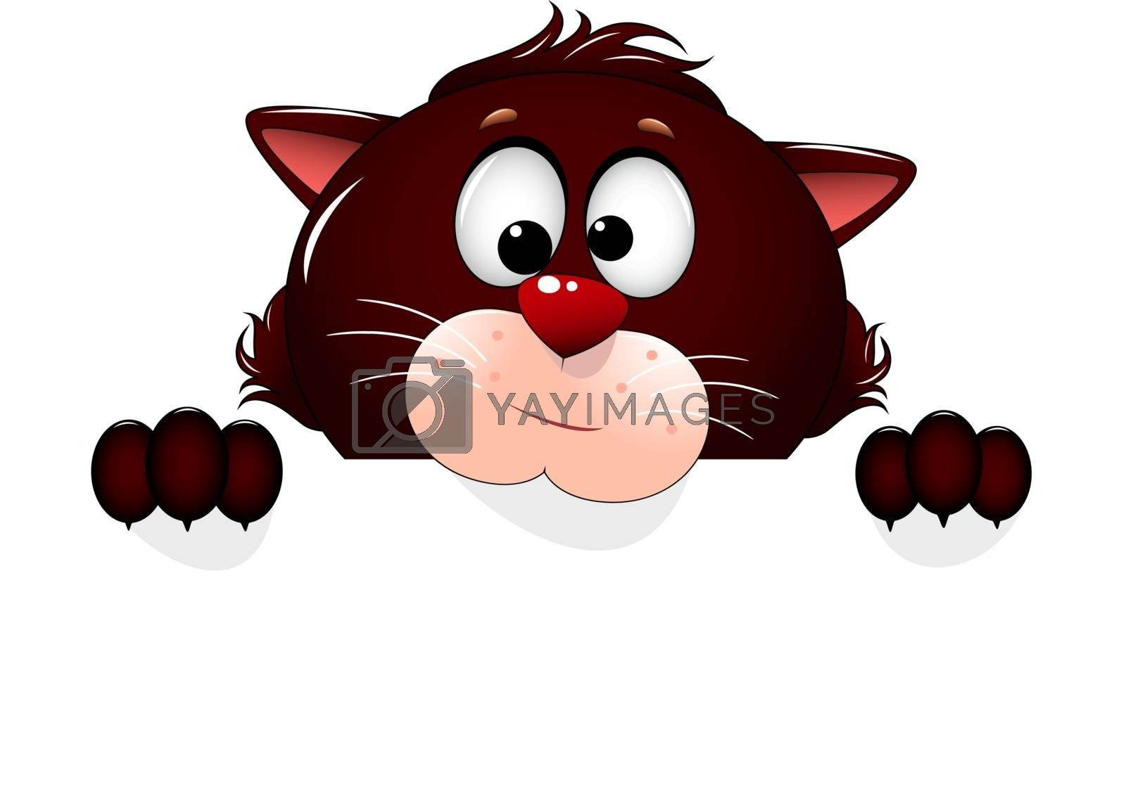 Cartoon cat. Feline portrait close-up. Cat face on a white background. Greeting card.