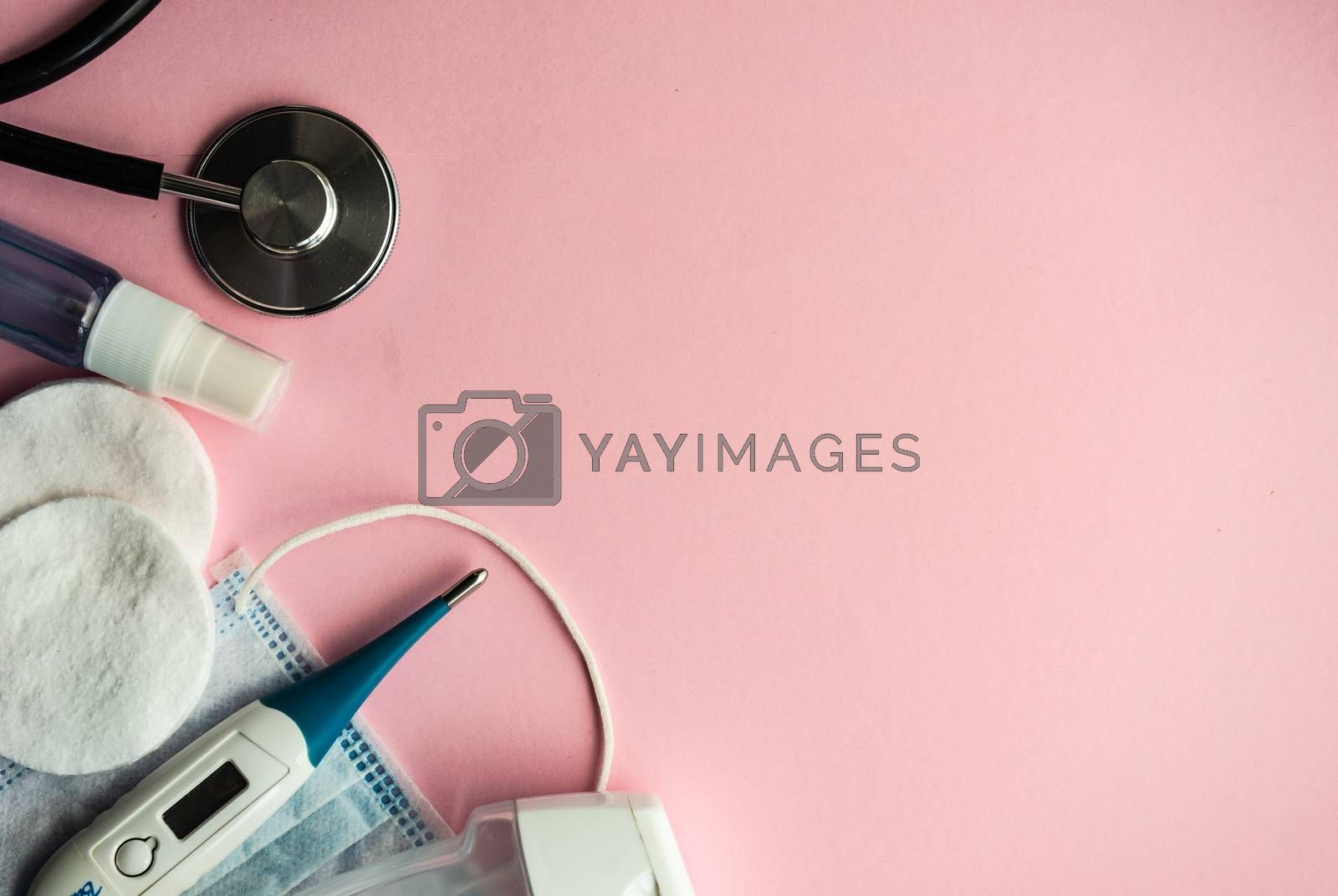 Coronavirus or Covid-19 epidemic healthcare concept on pink pastel background with copy space
