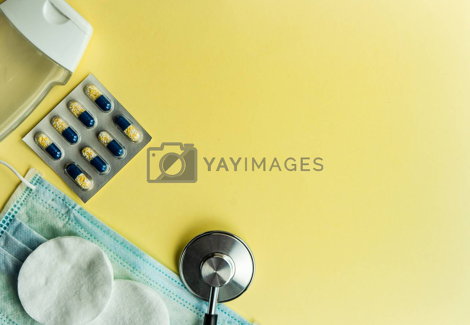 Coronavirus or Covid-19 epidemic healthcare concept on pastel background with copy space