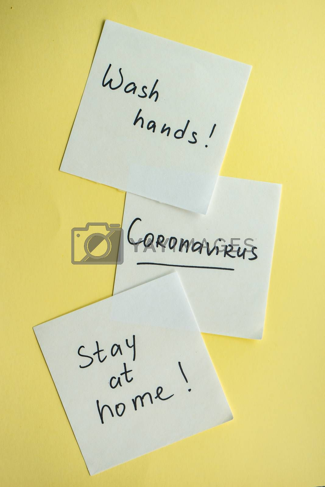 COVID-19 virus concept with notes on pastel yellow background with copy space